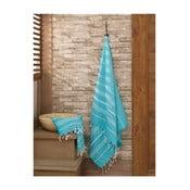 Set modrého uteráku a osušky Hammam zo 100% bavlny Sultan