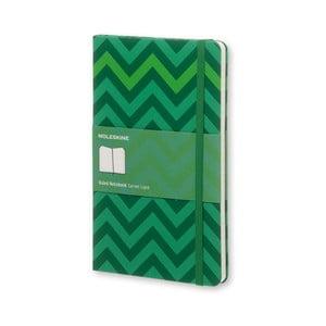 Veľký zelený zápisník Moleskine Chevron, linajkový