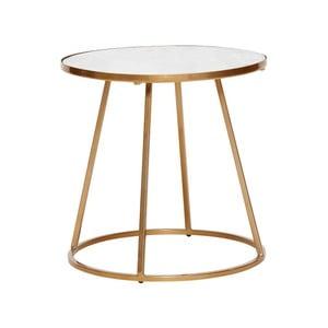Odkladací stolík s bielou mramorovou doskou a podnožou v zlatej farbe Hübsch Dana