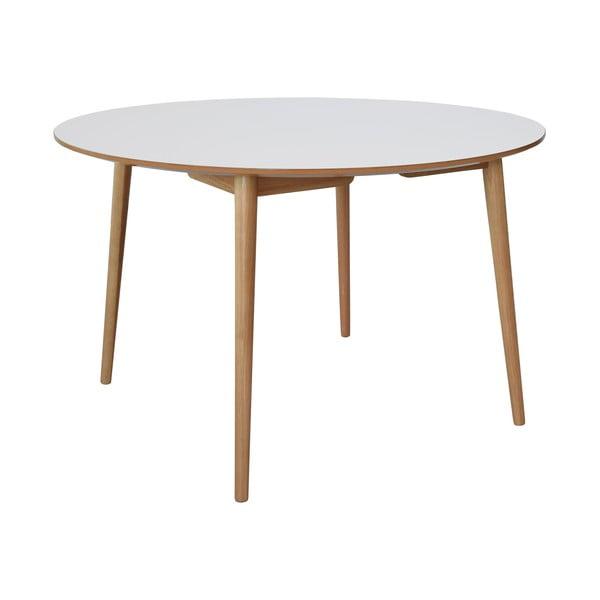 Biely jedálenský stôl s dubovými nohami RGE Trim