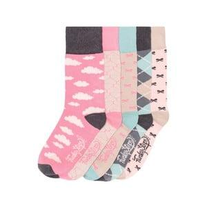 Sada 5 párov farebných ponožiek Funky Steps Pinkies, veľ. 35-39