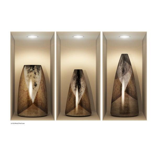 Sada 3 samolepiek s 3D efektom Ambiance Wooden Vases