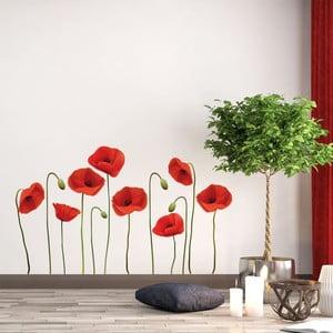 Sada samolepiek na stenu Ambiance vrmeil Poppies, 60 x 70 cm