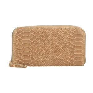 Hnedobéžová kožená peňaženka Chicca Borse Tarho