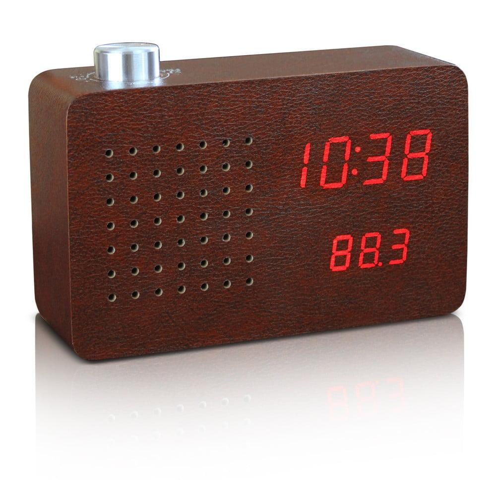 Tmavohnedý budík s červeným LED displejom a rádiom Gingko Radio Click Clock