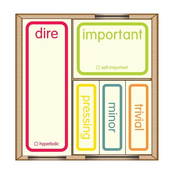 Lepiace papieriky na označenie priorít Self-Important