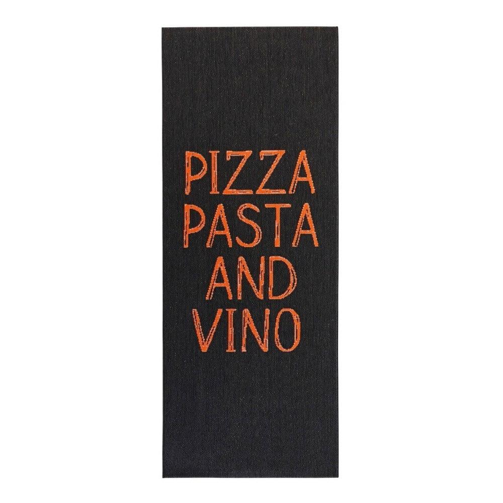 Čierny kuchynský behúň Zala Living Pizza Pasta and Vino, 80 × 200 cm