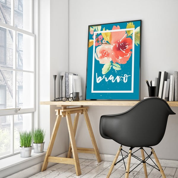 Plagát s kvetmi Bravo, modré pozadie, 30 x 40 cm