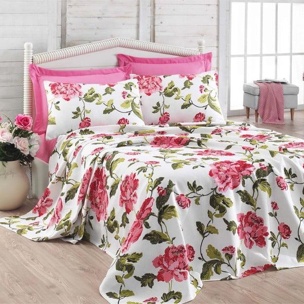 Set prikrývky, prestieradla a obliečok na vankúše Flower Pink, 200x235 cm