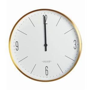 Nástenné bielo-zlaté hodiny House Doctor Couture Gold, 30cm