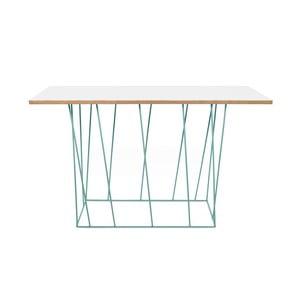Biely konzolový stolík so zelenými nohami TemaHome Helix