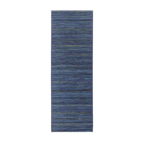 Koberec vhodný do exteriéru Lotus 80x240 cm, modrý melír