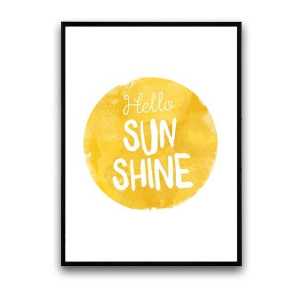 Plagát v drevenom ráme Hello sun, 38x28 cm