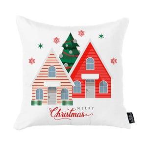 Biela vianočná obliečka na vankúš Apolena Honey Christmas House, 45 x 45 cm