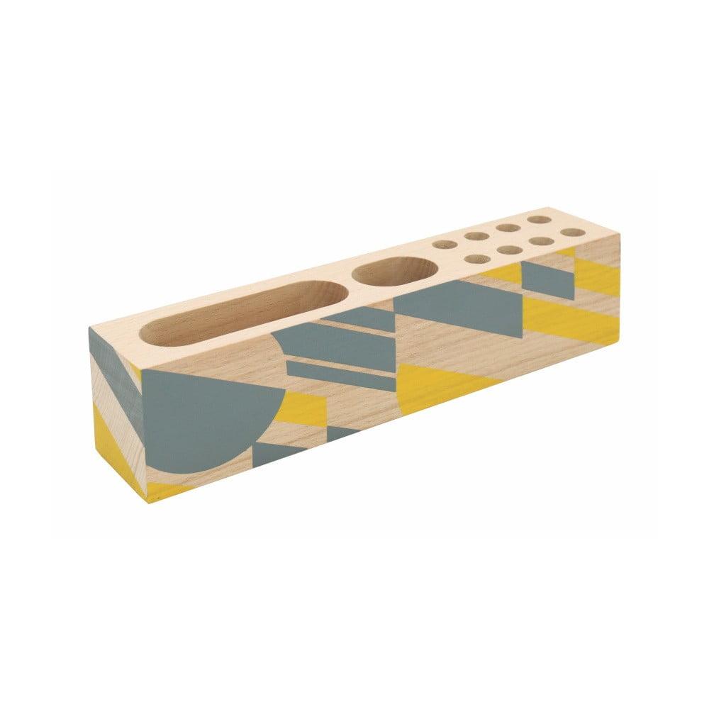 Žlté drevené puzdro na ceruzky Portico Designs Geometrico