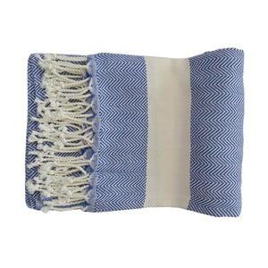 Modrá ručne tkaná osuška z prémiovej bavlny Lidya, 100×180 cm
