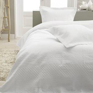 Biely pléd cez posteľ s dvomi obliečkami na vankúš Sleeptime Charlene, 260 x 250 cm