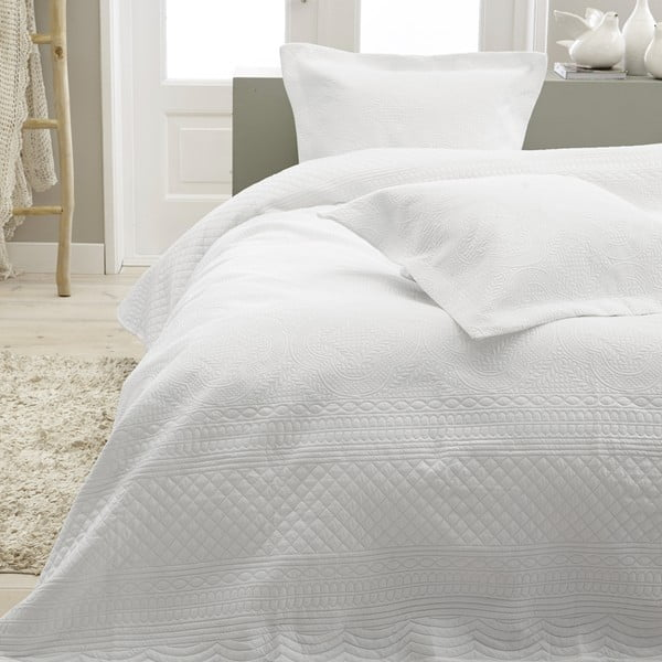 Biely pléd cez posteľ Dreamhouse Charlene,260x250cm
