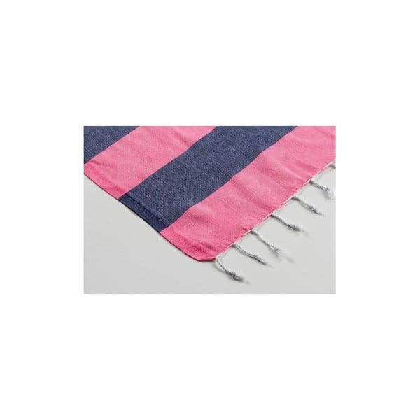 Hamam osuška Myra Pink Dark Blue, 100x180 cm