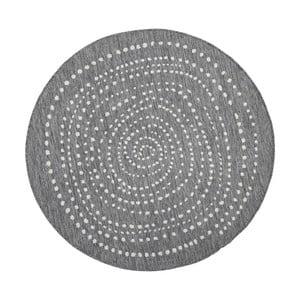 Sivý obojstranný koberec vhodný aj do e×teriéru Bougari Bali, ⌀ 140 cm