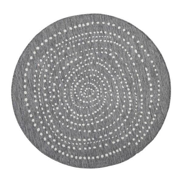 Sivý okrúhly obojstranný koberec Bougari Bali, Ø 140 cm