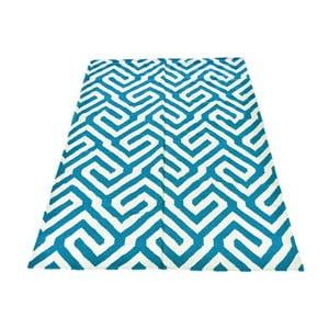 Vlnený koberec Geometry Modern Turquoise, 160x230 cm