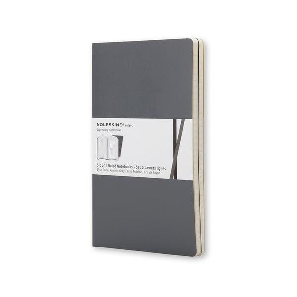 Sada 2 notesov Moleskine Volant 21x13 cm, šedá
