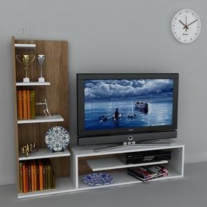 Televízna stena Sleek White/Walnut, 29,5x160x121,8 cm