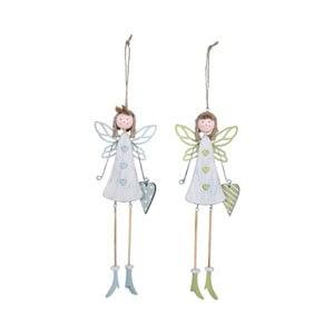 Sada 2 malých drevených závesných dekorácií v tvare anjelikov Ego Dekor, 8×26,5 cm