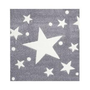 Sivý detský koberec Happy Rugs Star Constellation 140x140cm