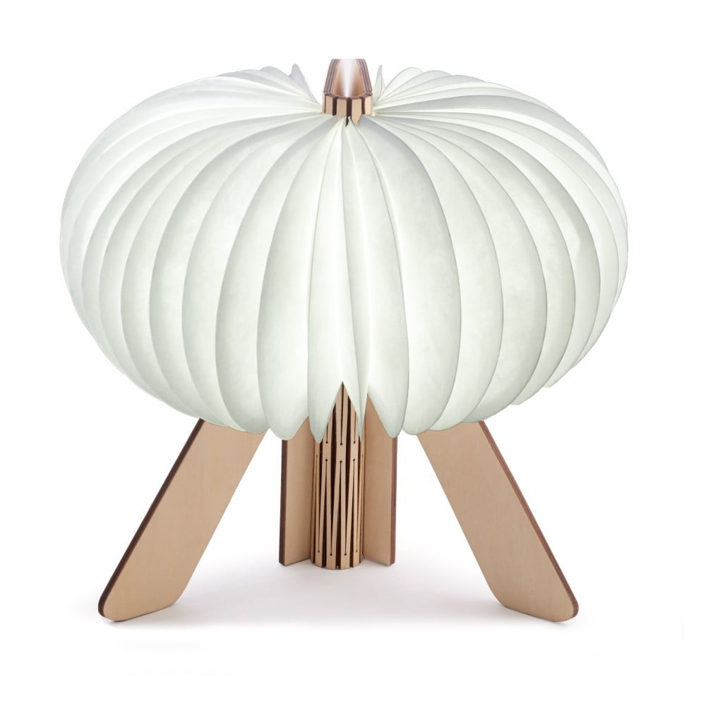 Hnedo-biela skladacia stolová lampa Gingko Space Maple
