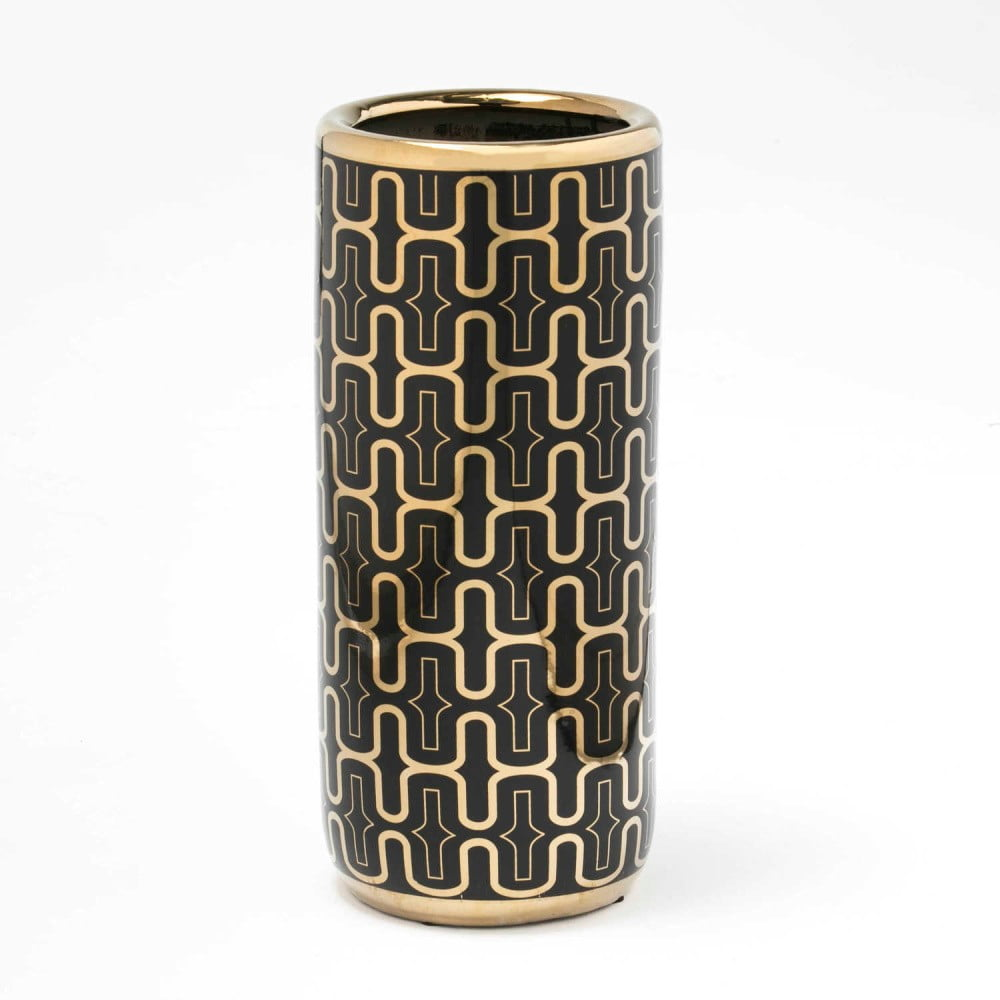 Čierno-zlatý keramický stojan na dáždniky Thai Natura, 21 × 47 cm
