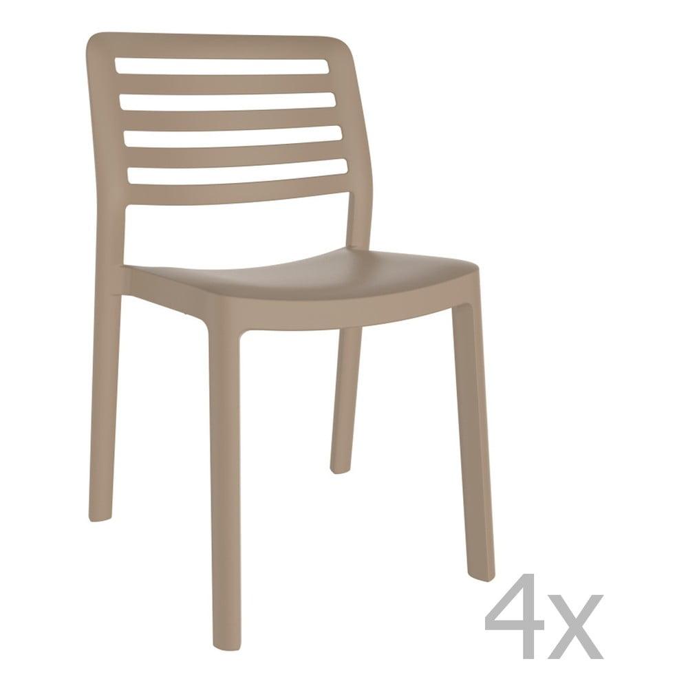 Sada 4 pieskovohnedých záhradných stoličiek Resol Wind