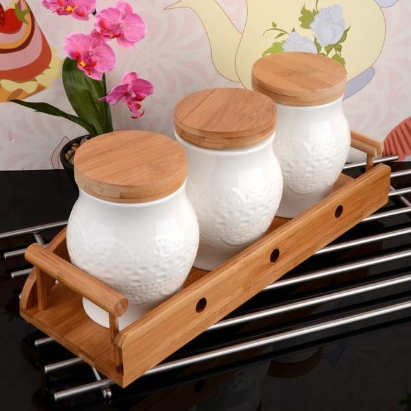 Bambusový stojan s 3 dózami Bamboo
