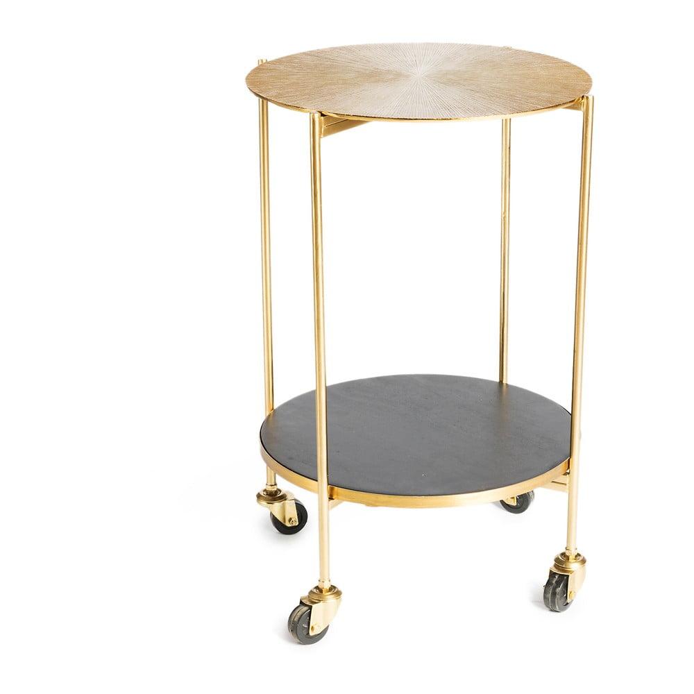 Servírovací stolík s kovovou konštrukciou v zlatej farbe Simla Trolley