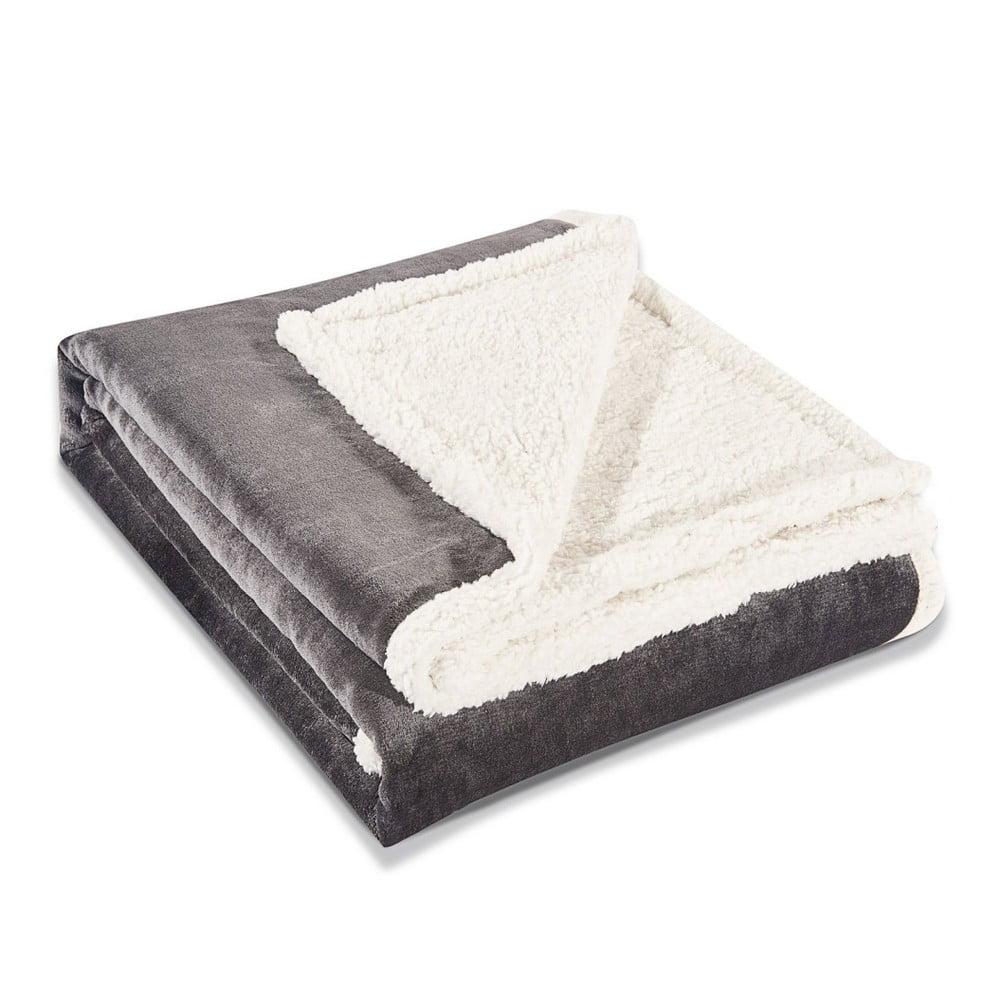 Sivá deka z mikrovlákna DecoKing Teddy Steel, 220 × 240 cm