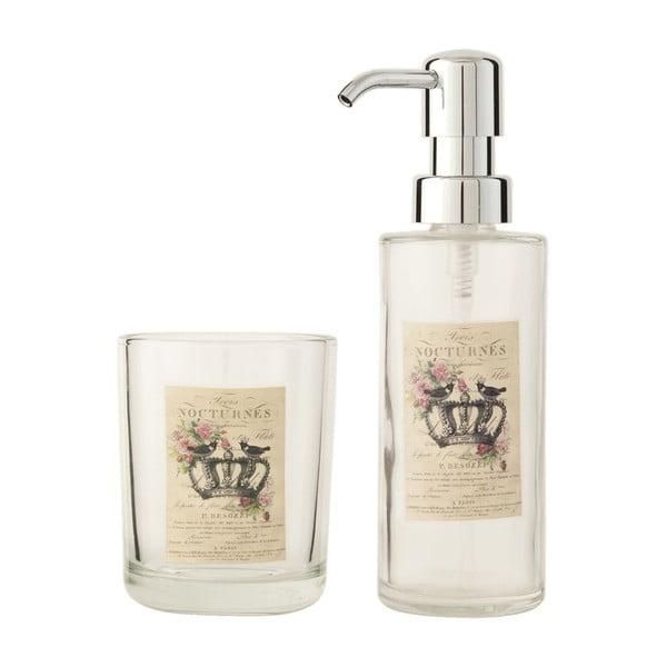 Set dávkovača mydla a pohárika na zubné kefky Clayre & Eef Crown