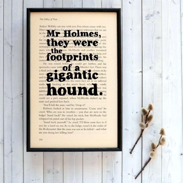 Plagát v drevenom ráme Sherlock Holmes gigantic hound