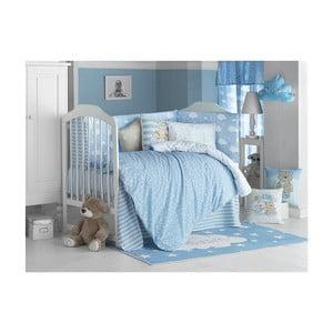 Modré detské bavlnené obliečky s plachtou na jednolôžko Apolena Carino, 100 x 150 cm