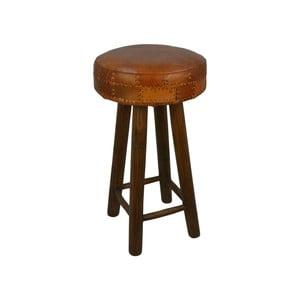 Barová stolička z hovädzej kože HSM collection Art of Nature Vintage Cognac, výška 75 cm