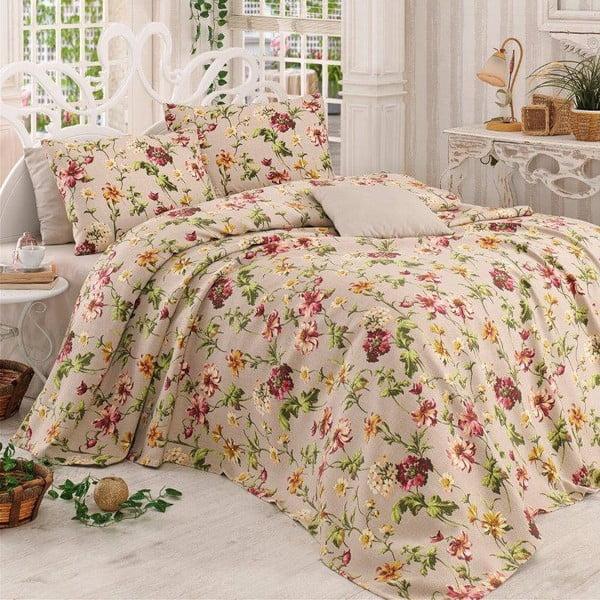 Sada prikrývky na posteľ, plachty a 2 vankúšov  Miranda Beige, 200x230 cm