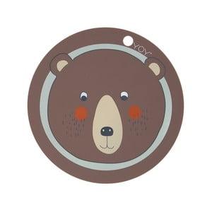 Detské silikónové prestieranie OYOY Bear, ⌀ 39 cm