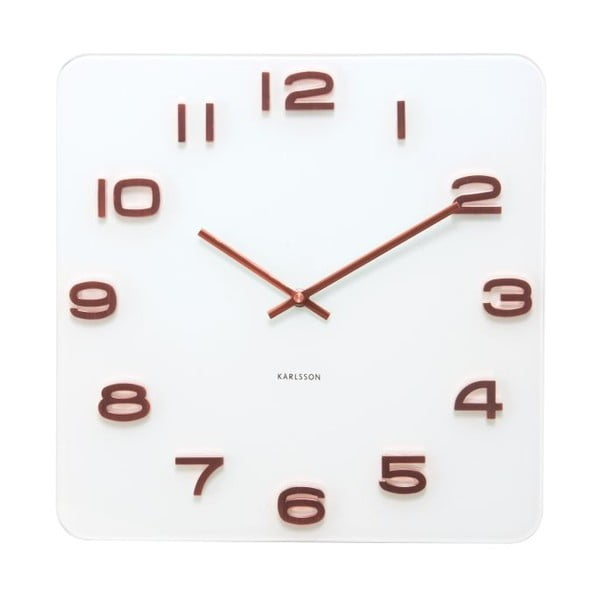 Hranaté hodiny Present Time Vintage Copper Numbers