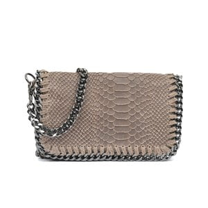 Sivobéžová kožená listová kabelka Luisa Vannini Granto