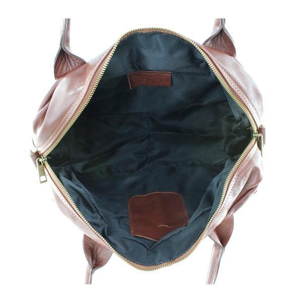 Hnedá kožená kabelka Michela