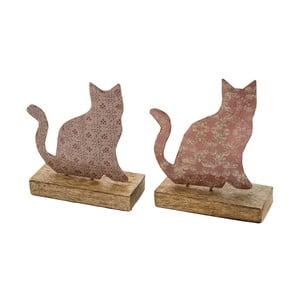 Sada 2 malých ružových dekorácií z posmaltovaného kovu na drevenom podstavci s motívom mačičky Ego Dekor, 11,5×13,5 cm