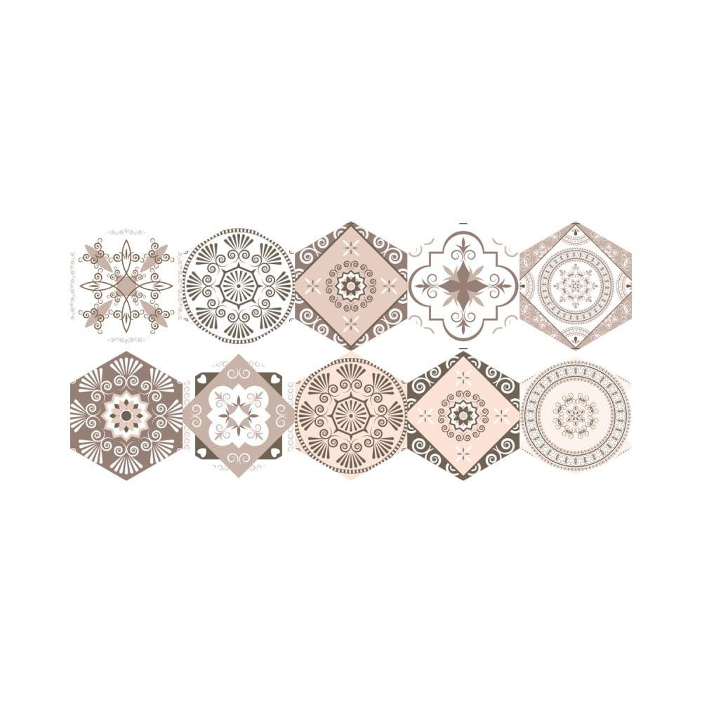 Sada 10 samolepiek na podlahu Ambiance Floor Stickers Hexagons Cornalina, 40 × 90 cm