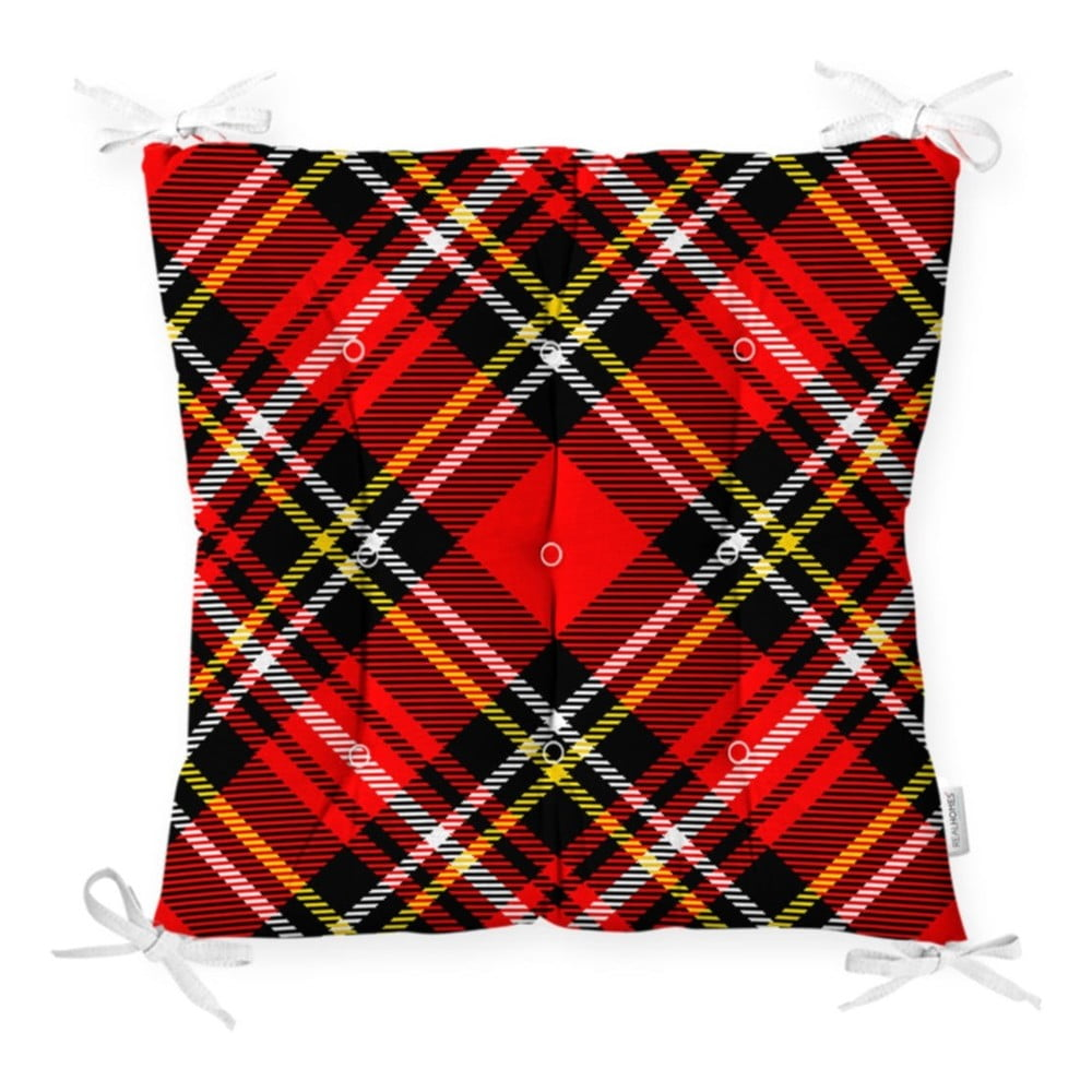 Sedák na stoličku Minimalist Cushion Covers Flannel Red Black, 40 x 40 cm