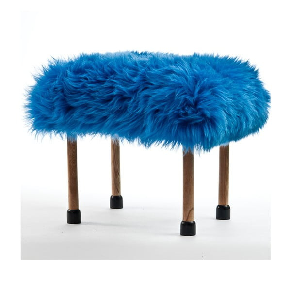 Stolička z ovčej kože Nerys Cornflower Blue