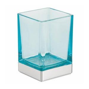 Modrý sklenený kúpeľňový pohárik InterDesign